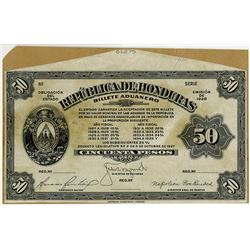 Republica de Honduras. Billete Aduanero (Customs Notes). 1928 Uniface Front Proof