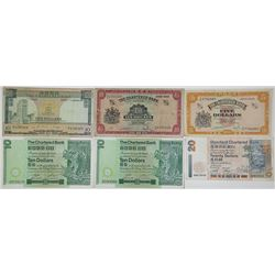 Chartered Bank. 1977-2001. Lot of 6 Issued Notes.