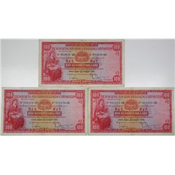 Hong Kong & Shanghai Banking Corp (HSBC). 1959. Lot of 3 Issued Notes.