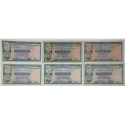 Hong Kong & Shanghai Banking Corp (HSBC). 1959-1977. Lot of 6 Issued Notes.