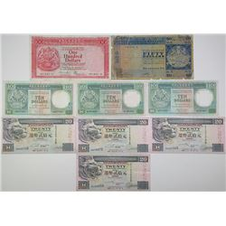 Hong Kong & Shanghai Banking Corp (HSBC). 1975-2001. Lot of 9 Issued Notes.