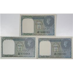 Government of India. 1940. Lot of 3 Issued Notes.