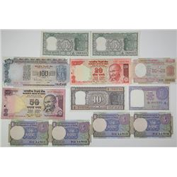 Reserve Bank of India. 1949-1975. Lot of 20 Issued Notes.
