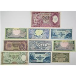 Bank Indonesia. 1945-1958. Lot of 10 Issued Notes.