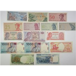 Bank Indonesia. 1964-2000. Lot of 14 Issued Notes.