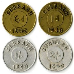 Curragh Internment POW Camp. 1940. Quartet of Tokens.