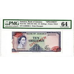 Bank of Jamaica. 1960 (ND 1961). Specimen Banknote.