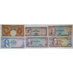 Bank of Jamaica. 1940-1985. Lot of 6 Issued Notes.