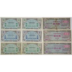 Allied Military Currency. 1945. Lot of 19 Issued Notes.