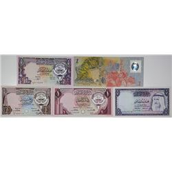 Central Bank of Kuwait. 1968-1993. Lot of 5 Issued Notes.