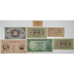 Latvijas Bankas & Other Issuers. 1919-1938. Lot of 7 Issued Notes.