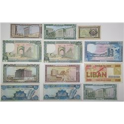 Banque du Liban. 1942-1995. Lot of 12 Issued Notes.