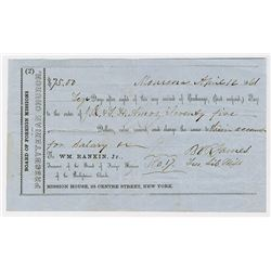 Board of Foreign Missions, of the Presbyterian Church, 1861 2nd of Exchange Sight Draft from Monrovi