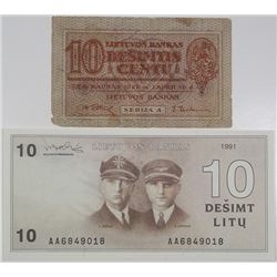 Lietuvos Bankas. 1922-1991. Lot of 2 Issued Notes.