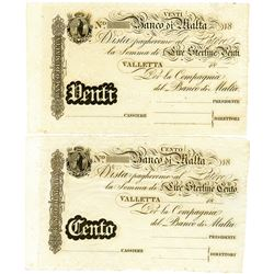 Banco di Malta. ND Second Issue. Pair of Remainder Banknotes.