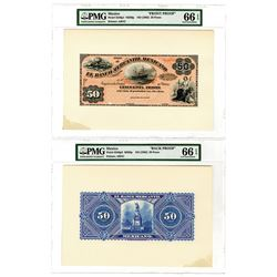 Banco Mercantil Mexicano, ND (1882) 50 Pesos Face and Back Proof Pair.