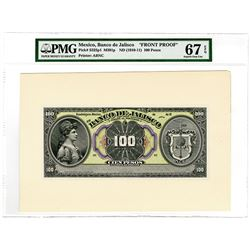 Banco de Jalisco, ND (ca. 1910-11) 100 Pesos Face Proof.