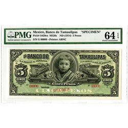 Banco de Tamaulipas. ND (1914). Specimen Banknote.