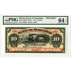 Banco de Tamaulipas. 1914. Specimen Banknote.