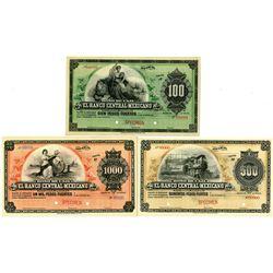 Bono De Caja, El Banco Central Mexicano 1899-1904 Specimen Circulating Bond-Banknote Trio.