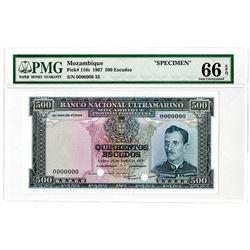 Banco Nacional Ultramarino. 1967 Specimen Banknote.