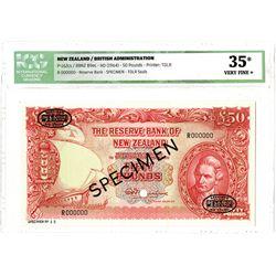 Reserve Bank of New Zealand. ND (1964). Specimen Banknote.