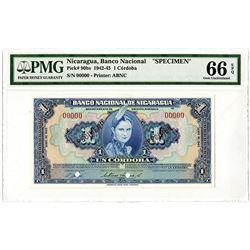 Banco Nacional de Nicaragua. 1942-1945. Specimen Banknote.