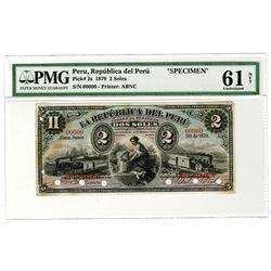 Republica del Peru. 1879. Specimen Banknote.