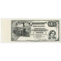 Banco Del Paraguay, 1882 Progress Proof Face Banknote.