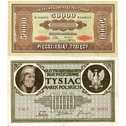 Polish State Loan Bank. 1919-1922. Quintet of Issued Banknotes.