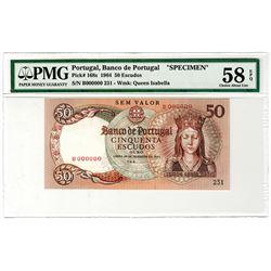 Banco de Portugal. 1964. Specimen Banknote.