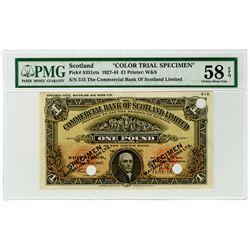 Commercial Bank of Scotland Ltd. 1927, Color Trial Specimen Banknote.