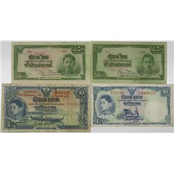 Government of Thailand. 1939-1942. Lot of 4 Issued Notes.