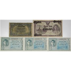 Government of Thailand. 1942-1946. Lot of 5 Issued Notes.