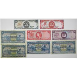 Government of Trinidad & Tobago. 1939-1964. Lot of 8 Issued Notes.