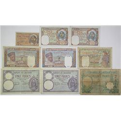 Banque de l'Algerie. 1936-1944. Lot of 9 Issued Notes.