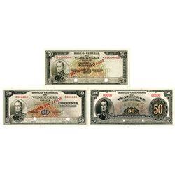 Banco Central de Venezuela. ND (1940s-1960s). Trio of Specimen 50 Bolivares Banknotes.