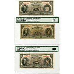 Banco Central de Venezuela. 1952-1958. Trio of Issued 50 Bolivares Banknotes.