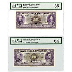 Banco Central de Venezuela. 1956-1960. Pair of Issued 10 Bolivares Banknotes.
