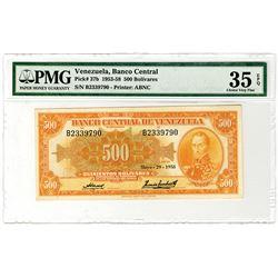 Banco Central de Venezuela. 1958. Issued Banknote.