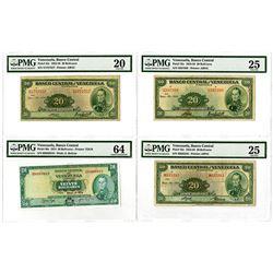 Banco Central de Venezuela. 1958-1974. Quartet of Issued 20 Bolivares Banknotes.