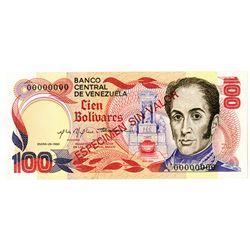 Banco Central de Venezuela. 1980 Specimen Note.