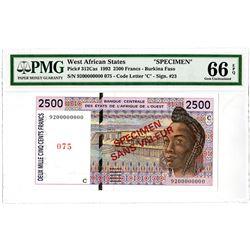 Banque Centrale des Etats de L'Afrique de L'Ouest. 1992. Specimen Banknote.