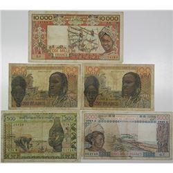 Banque Centrale des Etats de l'Afrique de L'Ouest. 1959-1990s. Lot of 5 Issued Notes.