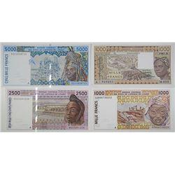 Banque Centrale des Etats de l'Afrique de L'Ouest. 1981-2003. Lot of 4 Issued Notes.