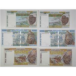 Banque Centrale des Etats de l'Afrique de L'Ouest. 1994-2002. Lot of 6 Issued Notes.