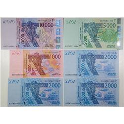 Banque Centrale des Etats de l'Afrique de L'Ouest. 2003. Lot of 6 Issued Notes.