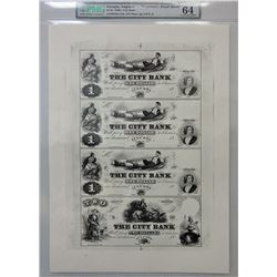 "City Bank, 1860's Obsolete ""Proprietary Proof Sheet""."