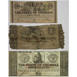 State of Georgia  & Mechanics Bank, 1858-1863, Trio of Issued Banknotes.
