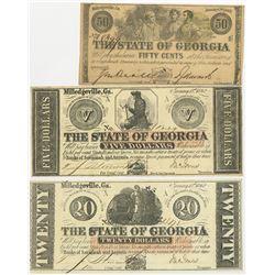 State of Georgia 1862 & 1863 Banknote Trio.